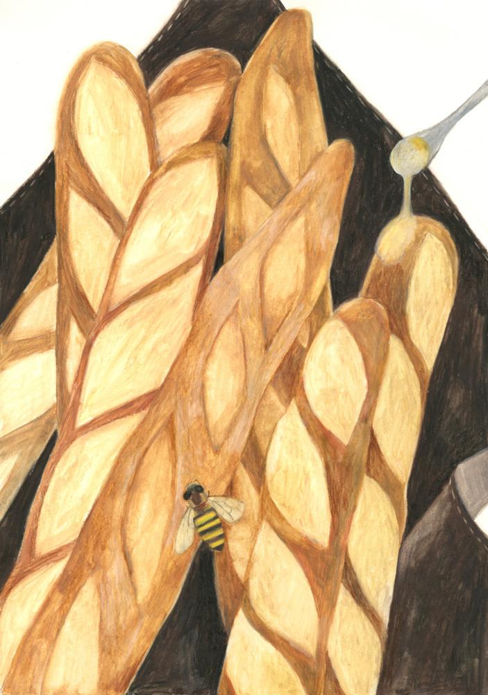 今日の絵「ミツバチとバゲット」_a0138978_22055053.jpg