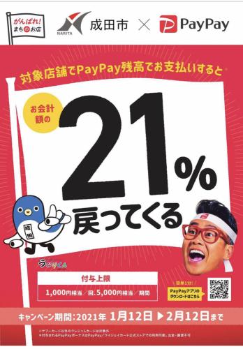 川豊は成田市PayPay21%還元を大応援中です!_a0218119_18430558.jpg