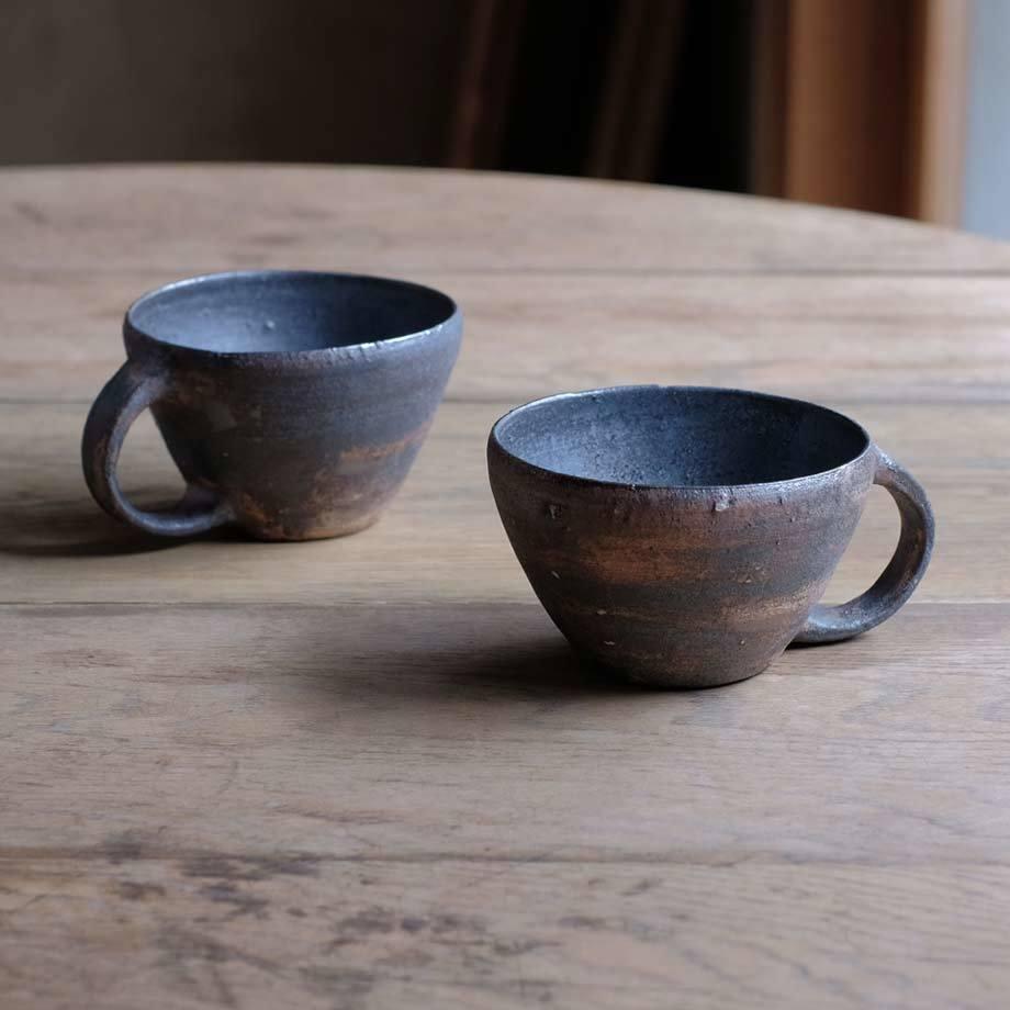 石原祥充さんの広口コーヒーカップ黒_f0380269_21512163.jpg