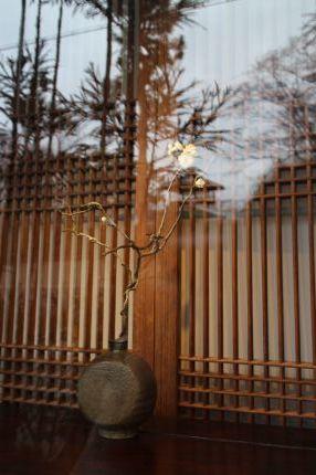 花だより 白梅と黒高麗扁壺_a0279848_14461807.jpg