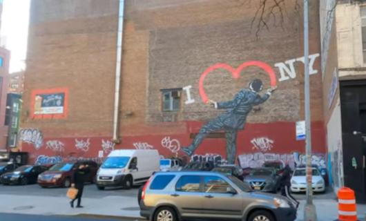 """じわじわ、じっくりニューヨークの壁画巡り、チェルシー編(4)""""I Love NY""""とOSGEMEOSの巨大壁画_b0007805_09573468.jpg"""