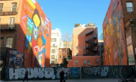 """じわじわ、じっくりニューヨークの壁画巡り、チェルシー編(4)""""I Love NY""""とOSGEMEOSの巨大壁画_b0007805_10103369.jpg"""