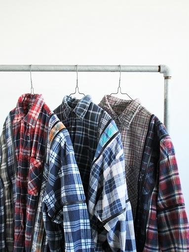 Rebuild By Needles Flannel Shirt → 7 Cuts Zipped Wide Shirt_b0139281_12144238.jpg