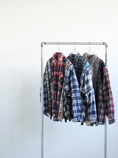 Rebuild By Needles Flannel Shirt → 7 Cuts Zipped Wide Shirt_b0139281_12144324.jpg