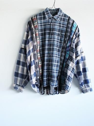 Rebuild By Needles Flannel Shirt → 7 Cuts Zipped Wide Shirt_b0139281_12153891.jpg