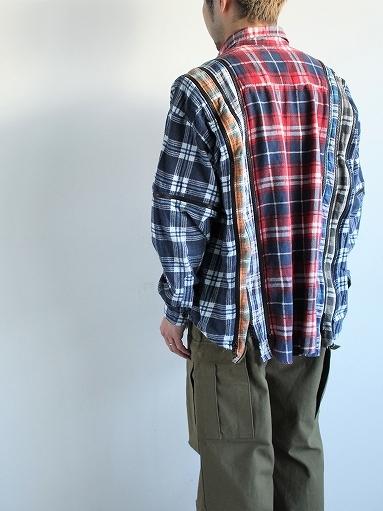 Rebuild By Needles Flannel Shirt → 7 Cuts Zipped Wide Shirt_b0139281_16045085.jpg