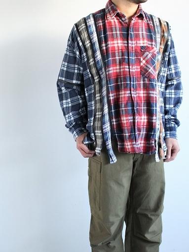 Rebuild By Needles Flannel Shirt → 7 Cuts Zipped Wide Shirt_b0139281_16045176.jpg