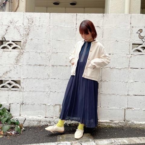 〔 bulle de savon〕40crape 花の糸刺繍ワンピース_a0389054_15535048.jpg