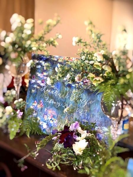 結婚記念日のケータリングに☆モネの睡蓮のキャンパスにカリグラフィー_b0165872_18463857.jpeg