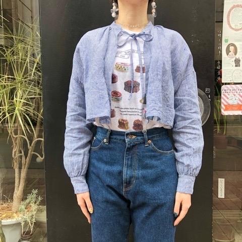 〘fig London〙blossom CHECK short shirt_a0389054_00403117.jpg