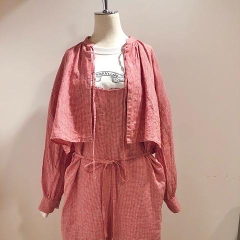 〘fig London〙blossom CHECK short shirt_a0389054_00503307.jpg