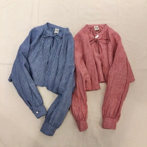 〘fig London〙blossom CHECK short shirt_a0389054_00535444.jpg
