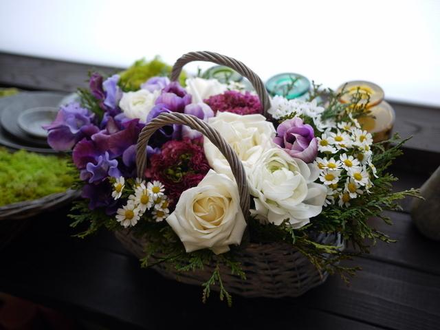 モモイ ヒトミさんのライブにアレンジメント。「青紫系のお花を使って」。2021/02/20。_b0171193_11474026.jpg