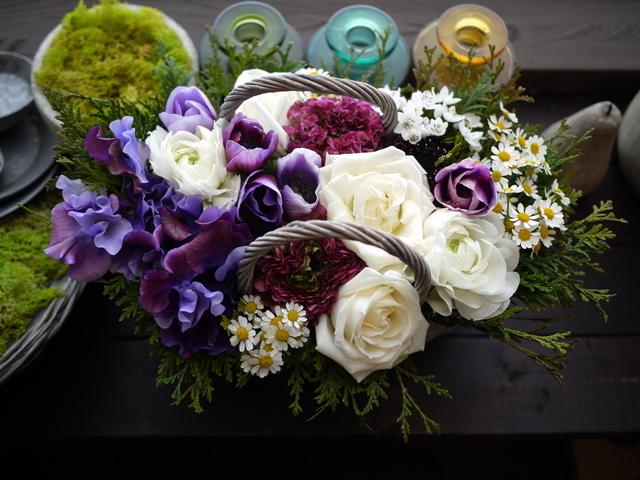 モモイ ヒトミさんのライブにアレンジメント。「青紫系のお花を使って」。2021/02/20。_b0171193_11474046.jpg