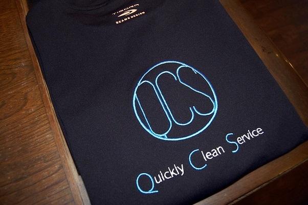 持ち込みのハイテク素材のTシャツにオリジナルロゴを刺繍しました!_e0260759_11152285.jpg