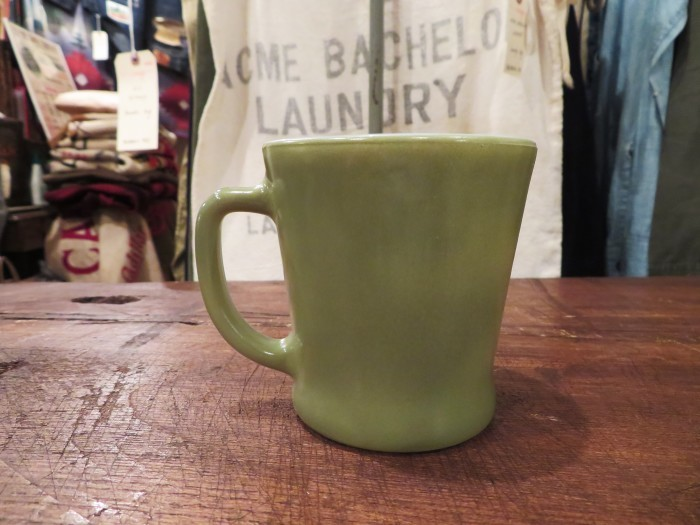 60\'s Fire King D-Handle Mug Green ARMY GREEN Military Green_e0187362_16372396.jpg
