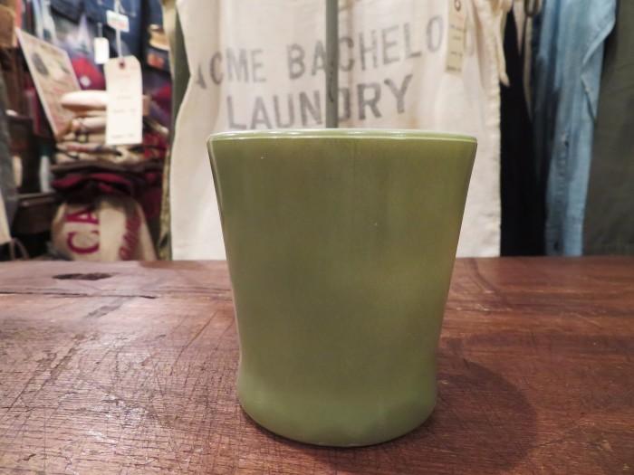 60\'s Fire King D-Handle Mug Green ARMY GREEN Military Green_e0187362_16451810.jpg