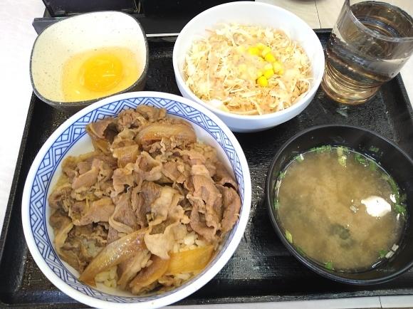 2/28 吉野家 牛丼並汁だくAセット、玉子_b0042308_23592264.jpg