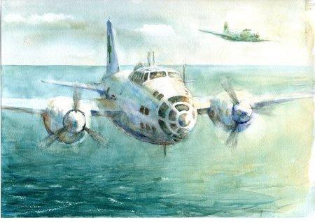 緑十字機 一式陸攻 水彩下絵_f0249498_00252151.jpg
