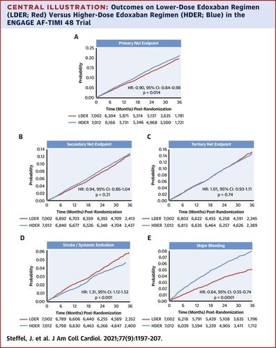 エドキサバン低用量は高用量に比べ脳卒中/塞栓症+大出血+死亡は少ない;ENGAGE AF事前設定解析_a0119856_06302481.jpg