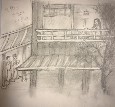 メモ的鉛筆画  二階のお客さん、よく見ると人形_e0016517_20170899.jpeg