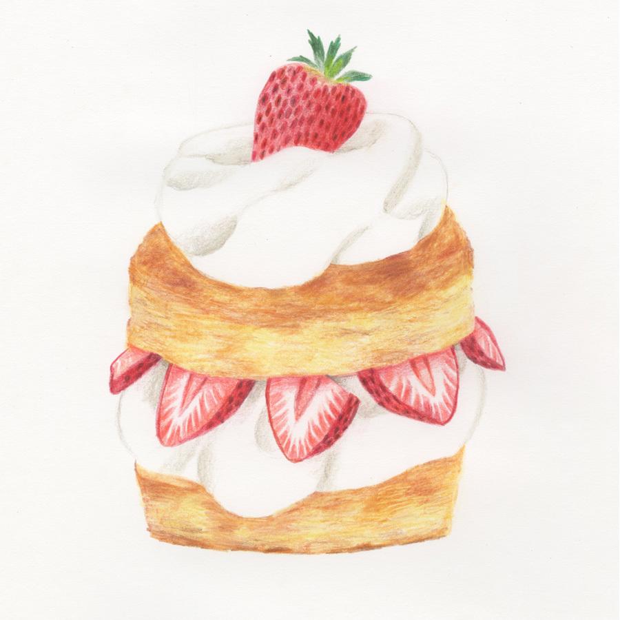 今日の絵「苺ショートケーキ」_a0138978_23594190.jpg