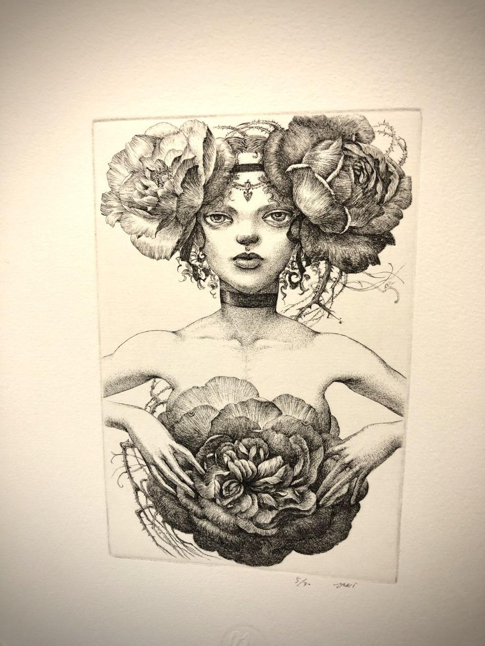 人魚楼日記 薔薇の麗人が到着 林由紀子さんの銅版画 夜明けに開く薔薇_e0016517_15232819.jpeg