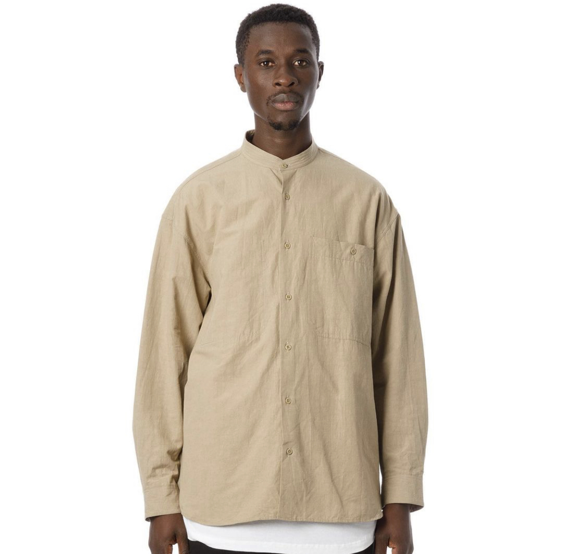 "SANDINISTA""Band Collar Cotton Linen Military Shirt\""_d0101000_16002995.jpeg"