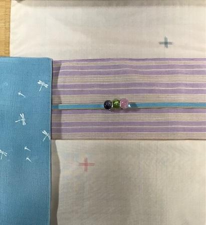 淡いピンクの大島紬+ピンク縞柄の本場結城紬九寸。_f0181251_17531198.jpg