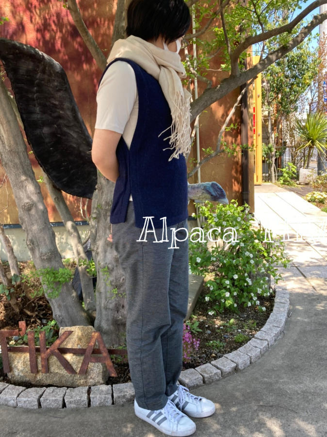 新作「春の日のアルパカベスト」「情熱の薔薇 麻の三角スカート」_d0187468_16294336.jpg