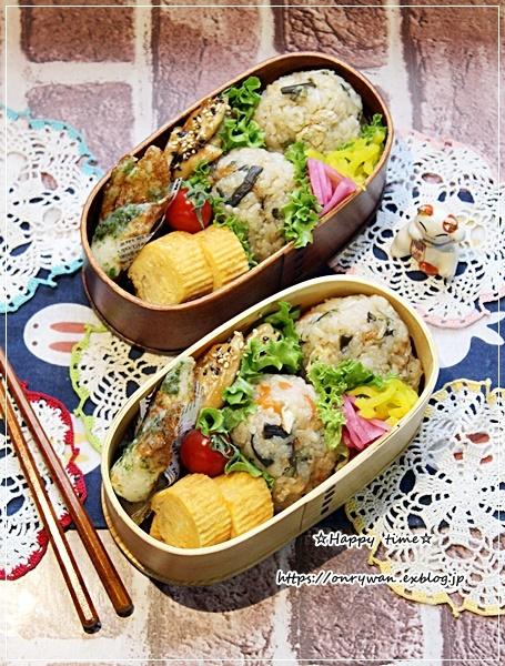 ストウブでわらびの炊き込みご飯おにぎり弁当♪_f0348032_15451903.jpg