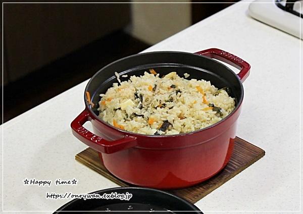 ストウブでわらびの炊き込みご飯おにぎり弁当♪_f0348032_15453005.jpg