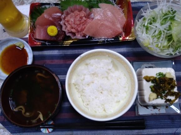 4/17 サントリーからだを想うオールフリー、鮪三種盛り定食@自宅_b0042308_22394941.jpg