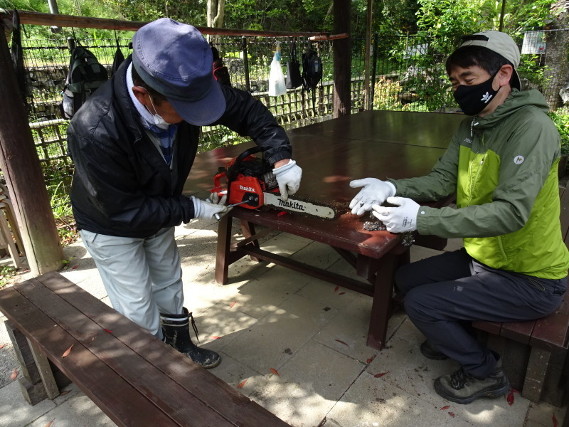 伐採木玉切りと薪置き場整理・・・自由活動日_c0108460_14455106.jpg