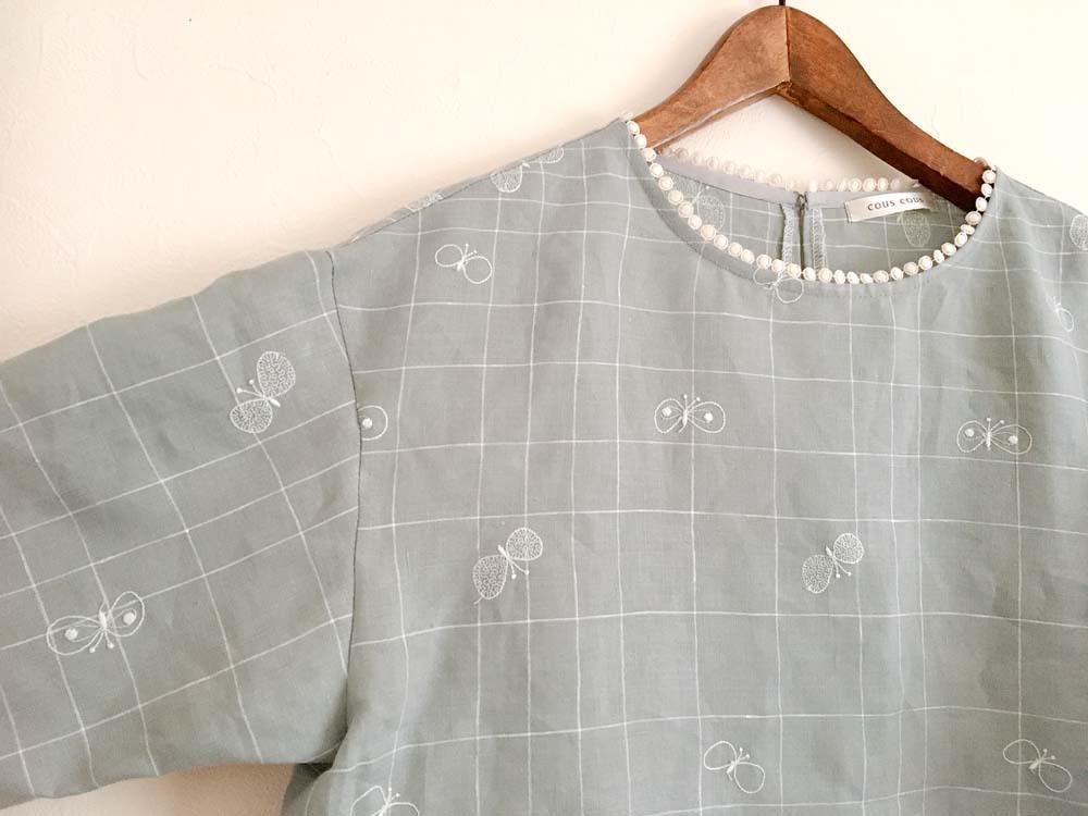 ミナペルホネン「choucho」チェックの衿ぐりレースブラウス_a0232169_13500286.jpg