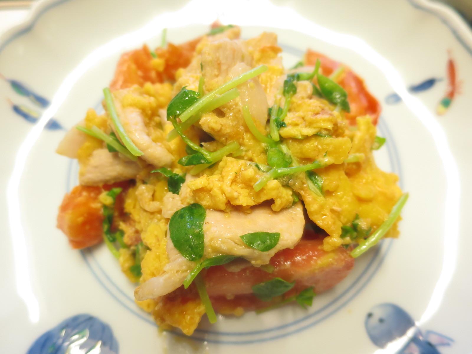 1年生レッスン 豚肉とトマトの卵とじ_d0031682_12384634.jpg