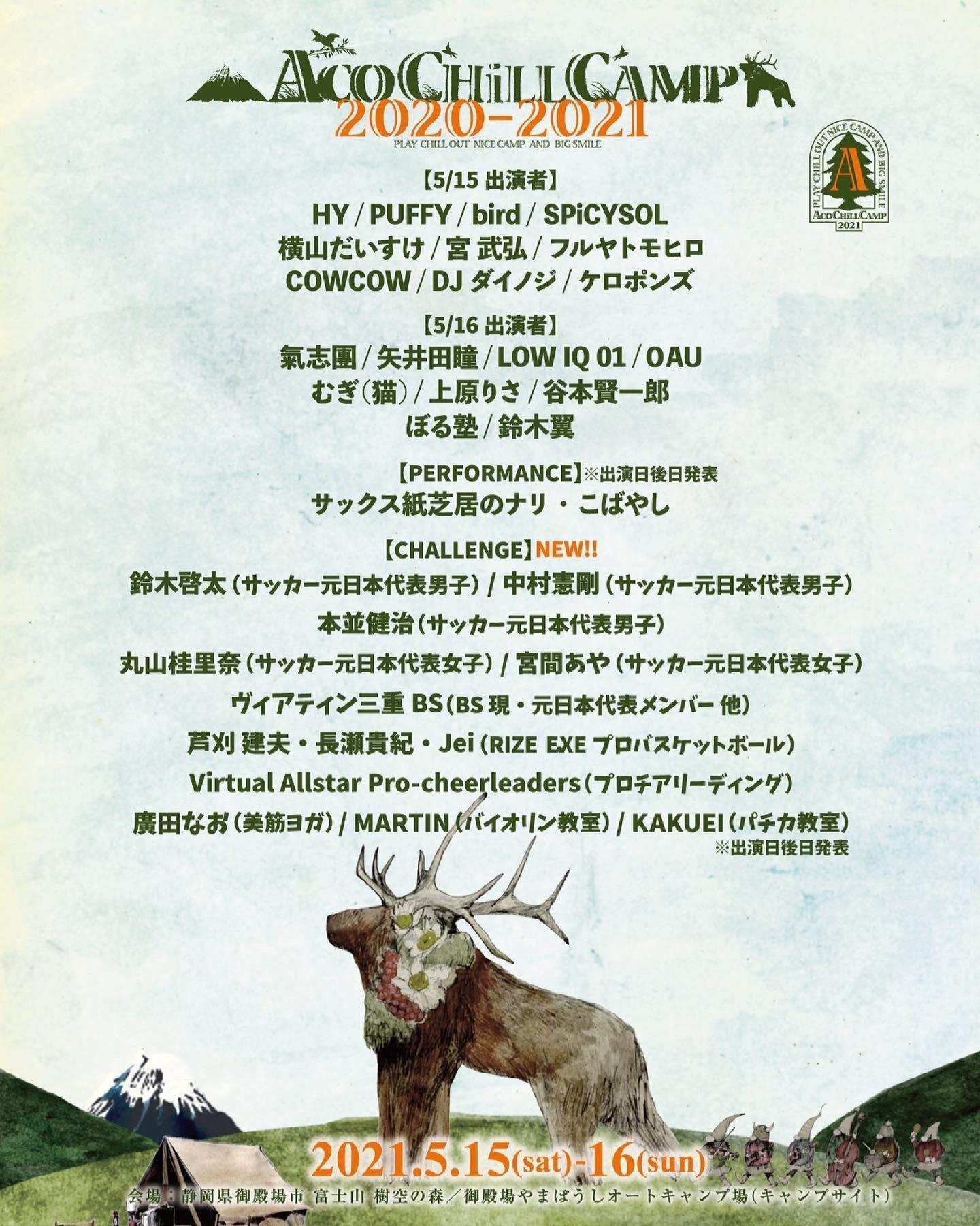 5/16(日)静岡県御殿場市樹空の森 ACO CHiLL CAMP 2020-2021_e0056646_12515793.jpeg