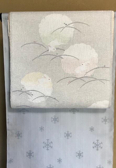 米沢もじり織・雪の結晶柄着物+雪輪に兎・紙布名古屋帯。_f0181251_19341022.jpg