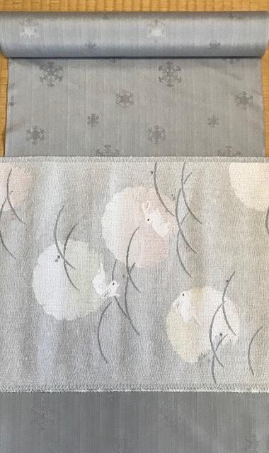米沢もじり織・雪の結晶柄着物+雪輪に兎・紙布名古屋帯。_f0181251_19355240.jpg