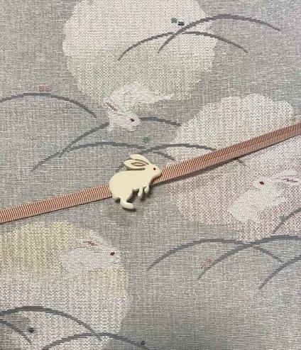 米沢もじり織・雪の結晶柄着物+雪輪に兎・紙布名古屋帯。_f0181251_19384415.jpg