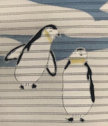 米沢もじり織・雪の結晶柄着物+ペンギンの絽の名古屋帯。_f0181251_18030249.jpg