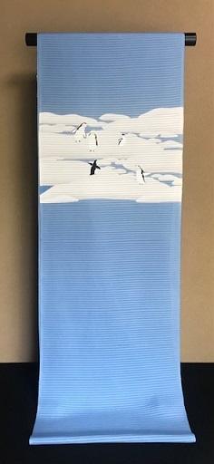 米沢もじり織・雪の結晶柄着物+ペンギンの絽の名古屋帯。_f0181251_18065180.jpg