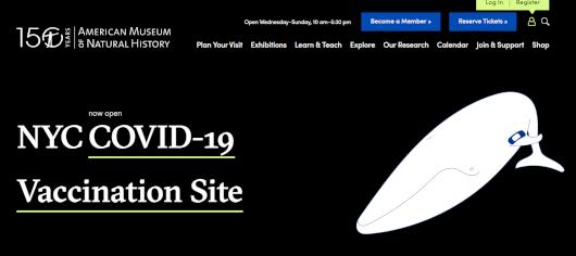 NYでは、巨大クジラの下でワクチン接種、自然史博物館の4人まで無料になる入場券ももらえちゃう?!_b0007805_00482440.jpg