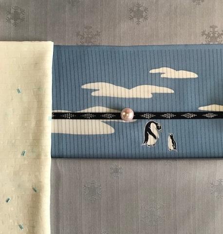 雪の結晶着物+ペンギン夏名古屋帯コーデ・緊急事態宣言。_f0181251_17591787.jpg