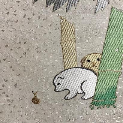 白地に赤の十字絣・本塩沢に神坂雪佳・狗児名古屋帯。_f0181251_19351667.jpg