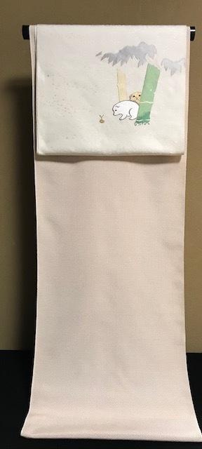 白地に赤の十字絣・本塩沢に神坂雪佳・狗児名古屋帯。_f0181251_19384911.jpg
