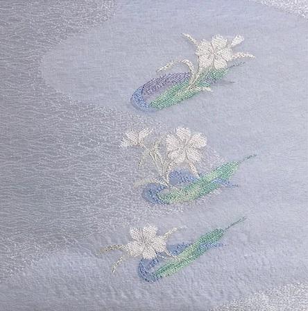 黒地に白の十字絣・本塩沢単衣+笹舟に撫子夏名古屋帯。_f0181251_20333157.jpg