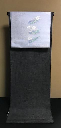 黒地本塩沢単衣+笹舟に撫子夏九寸コーディネイト。_f0181251_20373549.jpg