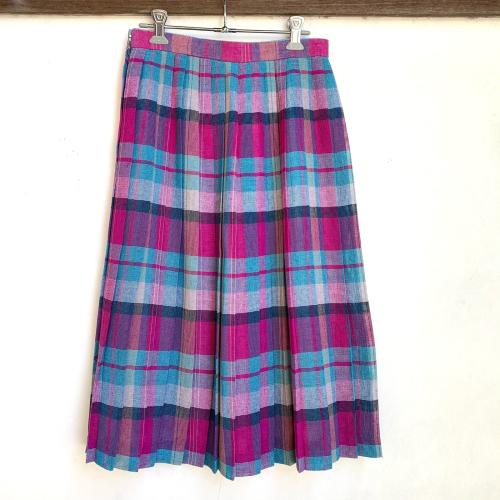 80's Retro Old Unique Tone Tartan Check Summer Fabric Design Pleats Skirt_a0182112_12234442.jpg