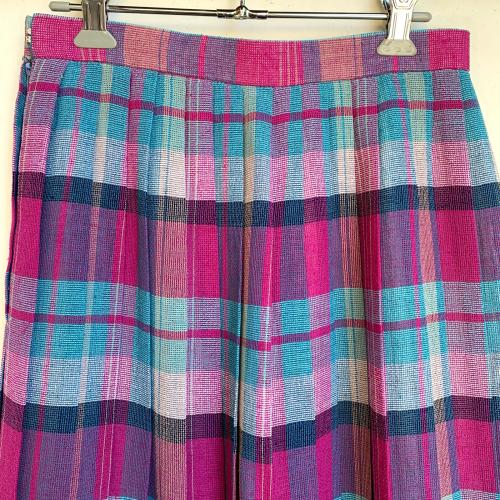 80's Retro Old Unique Tone Tartan Check Summer Fabric Design Pleats Skirt_a0182112_12234855.jpg
